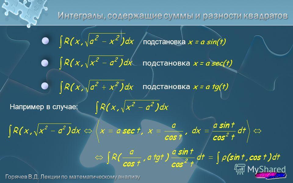 подстановка x = a sin(t) подстановка x = a sec(t) подстановка x = a tg(t) Например в случае: