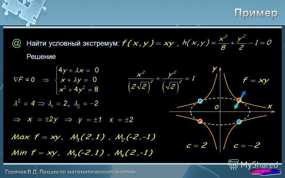 @ Решение Найти условный экстремум:, x y 0
