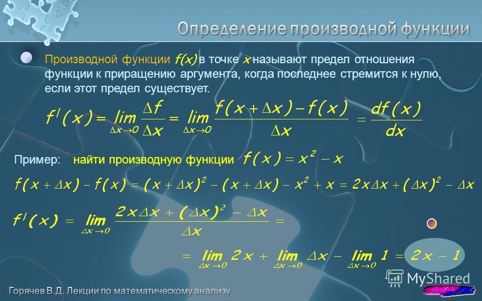 Производной функции f(x) в точке x называют предел отношения функции к приращению аргумента, когда последнее стремится к нулю, если этот предел существует. Пример:найти производную функции