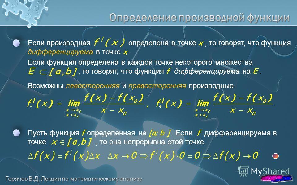 Возможны левосторонняя и правосторонняя производные Если производная определена в точке x, то говорят, что функция дифференцируема в точке x. Если функция определена в каждой точке некоторого множества, то говорят, что функция f дифференцируема на E.