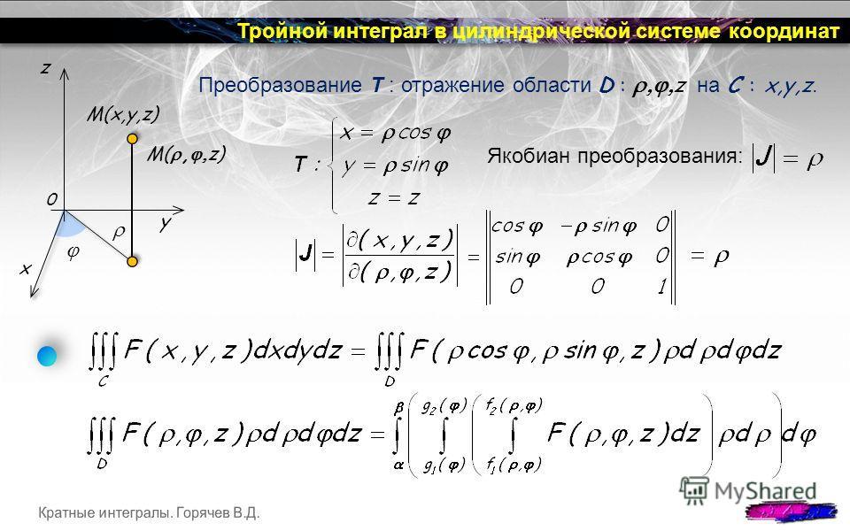 Тройной интеграл в цилиндрической системе координат Якобиан преобразования: Преобразование T : отражение области D : z на C : x,y,z. y x M(, z) M(x,y,z) 0 z