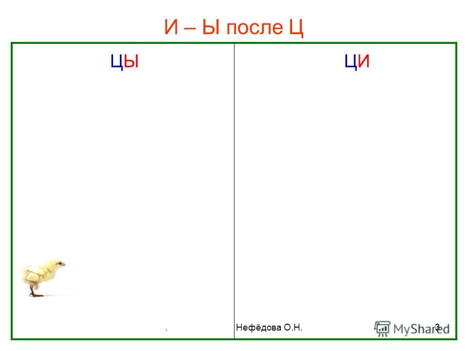 . Нефёдова О.Н.3 И – Ы после Ц ЦЫ ЦИ