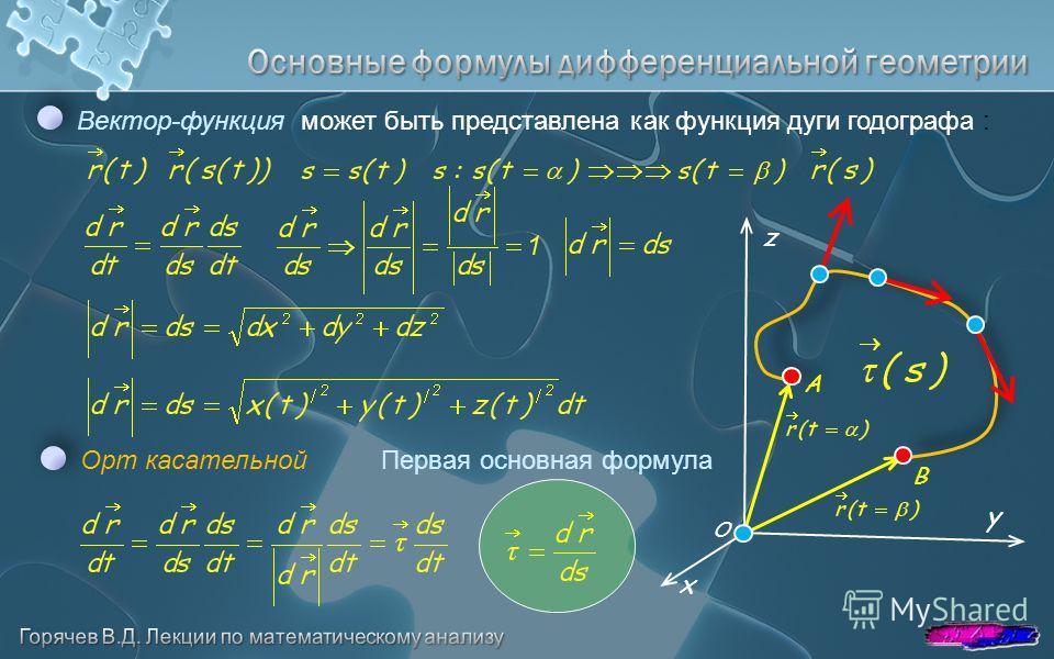 y z x Вектор-функция может быть представлена как функция дуги годографа : O A B Орт касательнойПервая основная формула