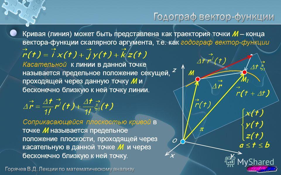 Кривая (линия) может быть представлена как траектория точки M – конца вектора-функции скалярного аргумента, т.е. как годограф вектор-функции y z x O Касательной к линии в данной точке называется предельное положение секущей, проходящей через данную т