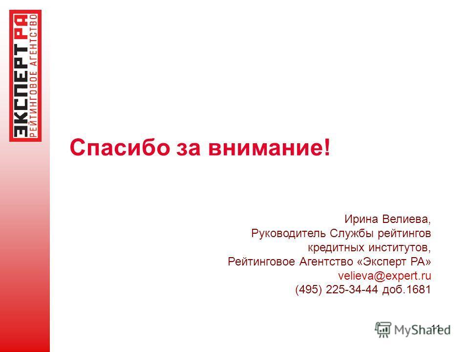 11 Спасибо за внимание! Ирина Велиева, Руководитель Службы рейтингов кредитных институтов, Рейтинговое Агентство «Эксперт РА» velieva@expert.ru (495) 225-34-44 доб.1681