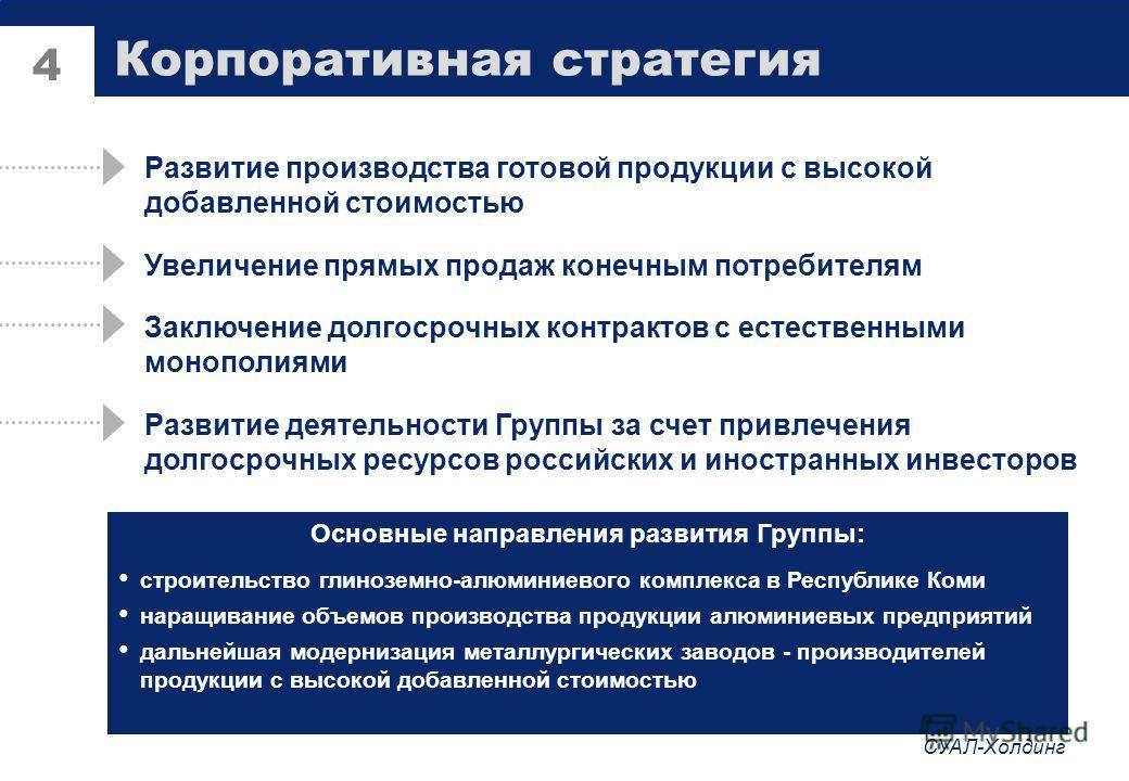 СУАЛ-Холдинг 3 Взаимоотношения с государством и естественными монополиями Ожидаемые налоговые платежи в 2002г - 3,165 млрд. руб. Энергопотребление: 1,9% электроэнергетики России Газопотребление: более 1 млрд. м 3 в год Товарные перевозки: 6,5 млн. то