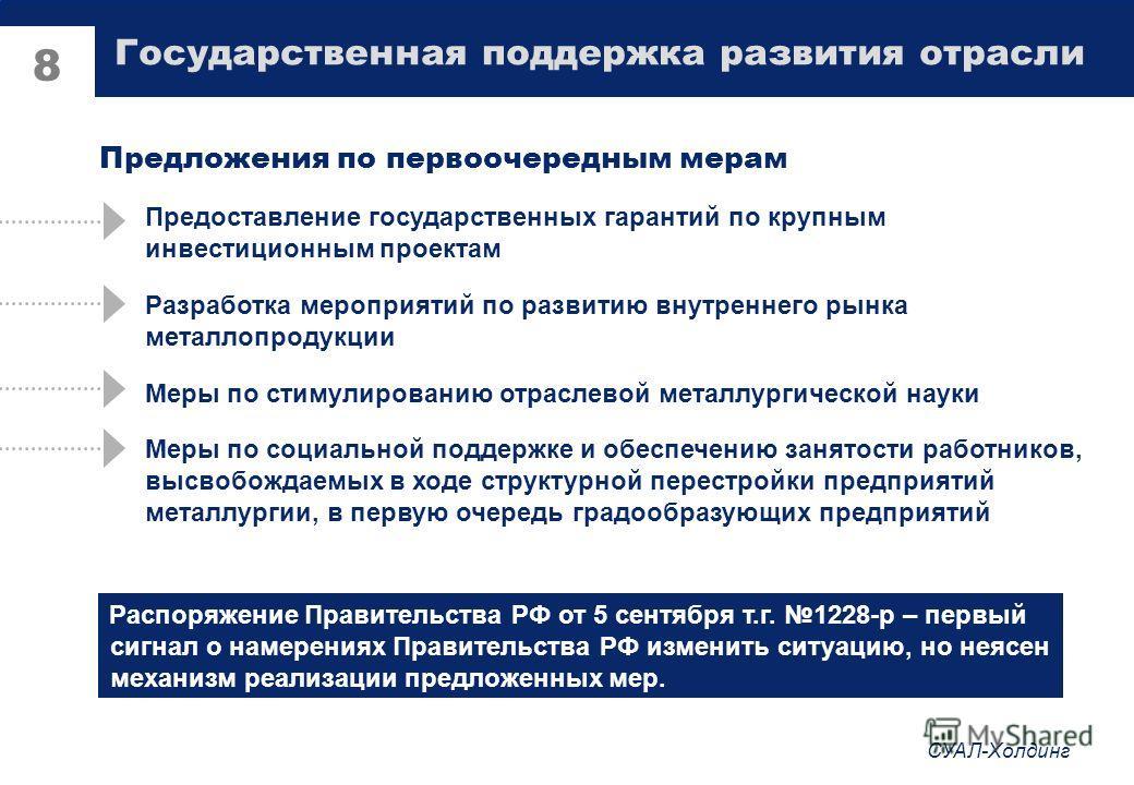 СУАЛ-Холдинг 7 Государственная поддержка развития отрасли Введение плавающей экспортной пошлины на алюминий, связанной с котировками на ЛБМ Снижение ставок ввозных таможенных пошлин на оборудование, не производимое в РФ Активизация государственной по