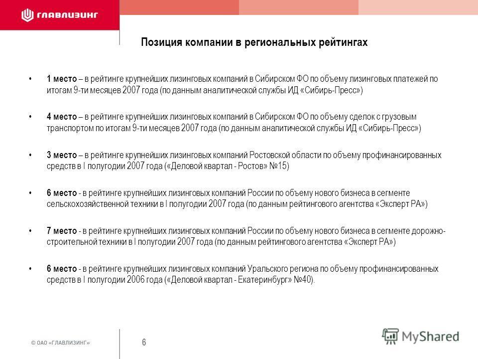 6 Позиция компании в региональных рейтингах 1 место – в рейтинге крупнейших лизинговых компаний в Сибирском ФО по объему лизинговых платежей по итогам 9-ти месяцев 2007 года (по данным аналитической службы ИД «Сибирь-Пресс») 4 место – в рейтинге круп