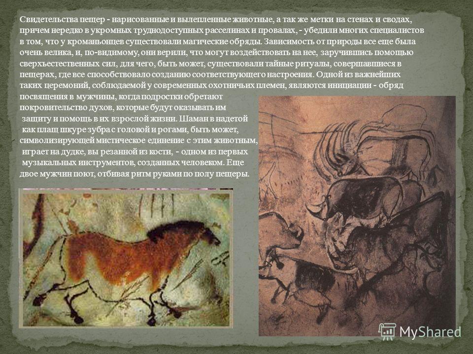 Свидетельства пещер - нарисованные и вылепленные животные, а так же метки на стенах и сводах, причем нередко в укромных труднодоступных расселинах и провалах, - убедили многих специалистов в том, что у кроманьонцев существовали магические обряды. Зав