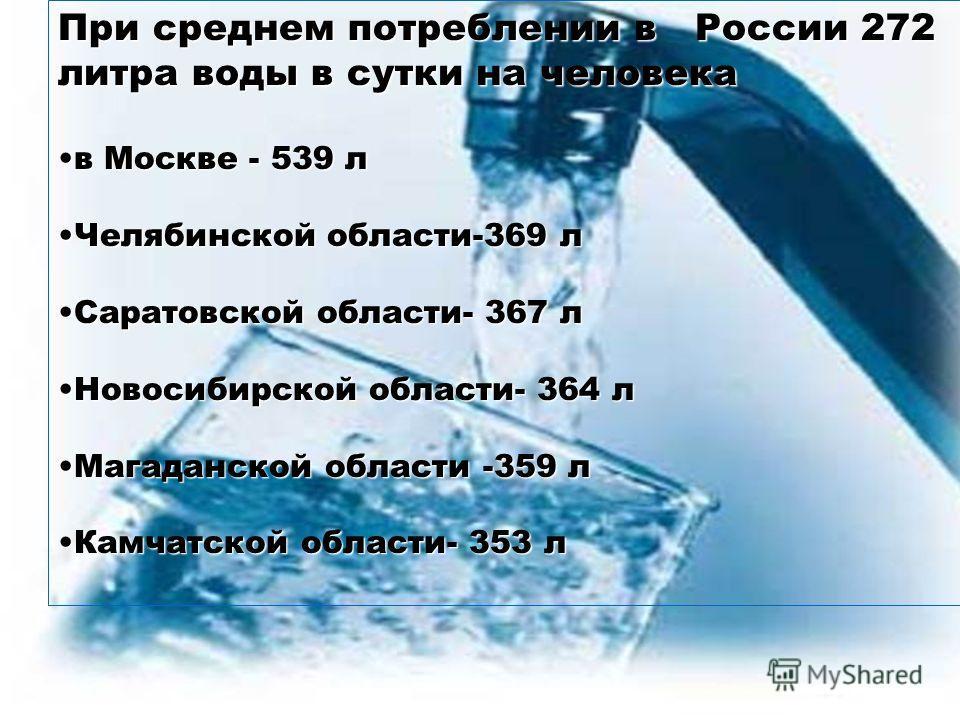 При среднем потреблении в России 272 литра воды в сутки на человека в Москве - 539 лв Москве - 539 л Челябинской области-369 лЧелябинской области-369 л Саратовской области- 367 лСаратовской области- 367 л Новосибирской области- 364 лНовосибирской обл