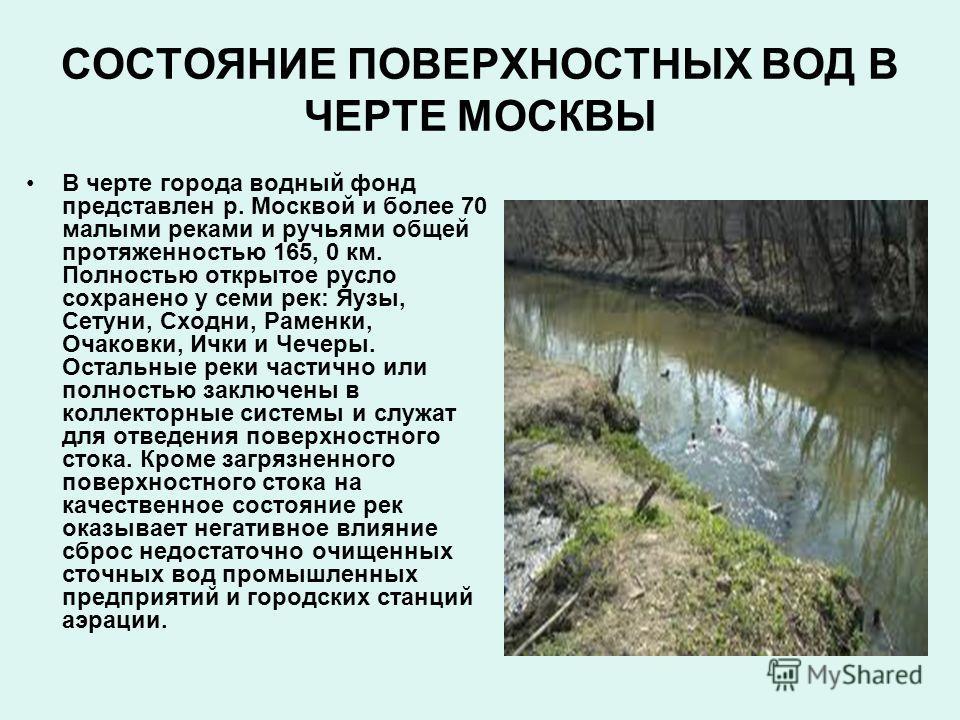 В черте города водный фонд представлен р. Москвой и более 70 малыми реками и ручьями общей протяженностью 165, 0 км. Полностью открытое русло сохранено у семи рек: Яузы, Сетуни, Сходни, Раменки, Очаковки, Ички и Чечеры. Остальные реки частично или по
