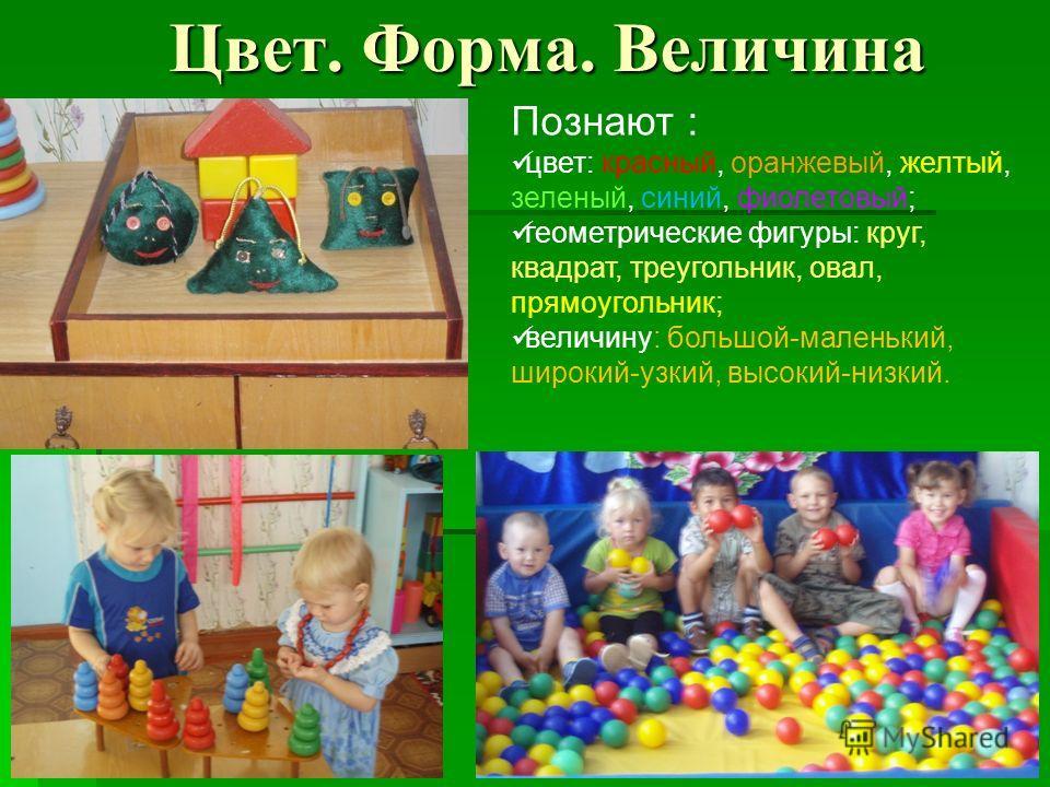 Цвет. Форма. Величина Познают : цвет: красный, оранжевый, желтый, зеленый, синий, фиолетовый; геометрические фигуры: круг, квадрат, треугольник, овал, прямоугольник; величину: большой-маленький, широкий-узкий, высокий-низкий.