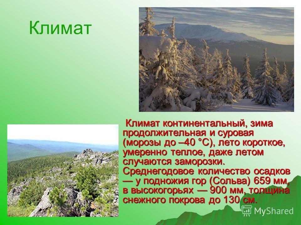 Климат Климат континентальный, зима продолжительная и суровая (морозы до –40 °С), лето короткое, умеренно теплое, даже летом случаются заморозки. Среднегодовое количество осадков у подножия гор (Сольва) 659 мм, в высокогорьях 900 мм, толщина снежного