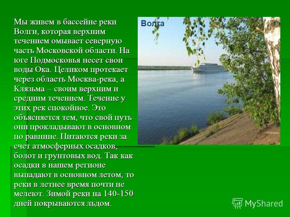 Мы живем в бассейне реки Волги, которая верхним течением омывает северную часть Московской области. На юге Подмосковья несет свои воды Ока. Целиком протекает через область Москва-река, а Клязьма – своим верхним и средним течением. Течение у этих рек