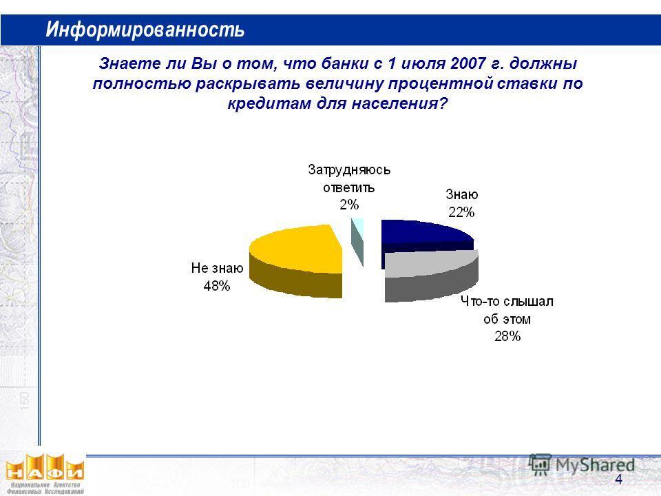 4 Информированность Знаете ли Вы о том, что банки с 1 июля 2007 г. должны полностью раскрывать величину процентной ставки по кредитам для населения?