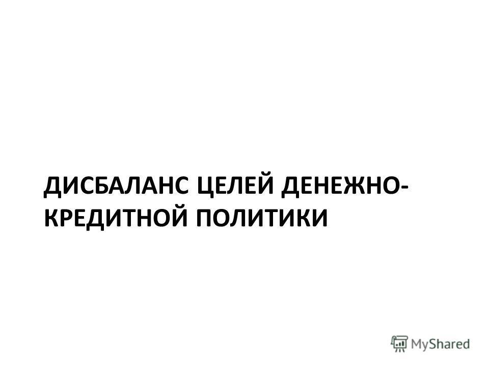 ДИСБАЛАНС ЦЕЛЕЙ ДЕНЕЖНО- КРЕДИТНОЙ ПОЛИТИКИ