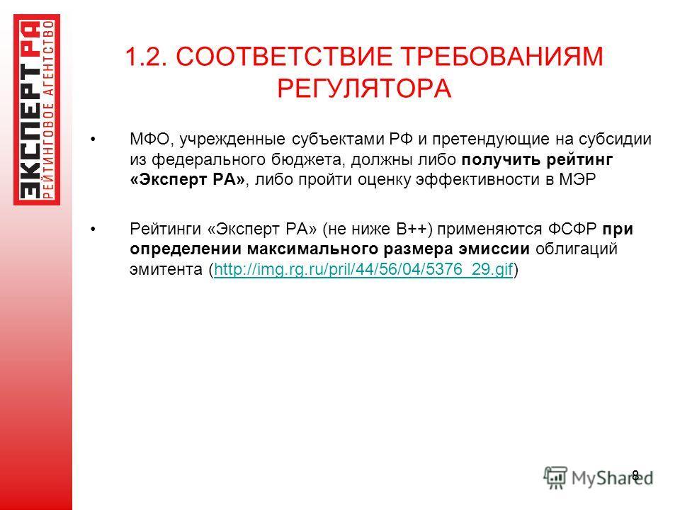 88 1.2. СООТВЕТСТВИЕ ТРЕБОВАНИЯМ РЕГУЛЯТОРА МФО, учрежденные субъектами РФ и претендующие на субсидии из федерального бюджета, должны либо получить рейтинг «Эксперт РА», либо пройти оценку эффективности в МЭР Рейтинги «Эксперт РА» (не ниже В++) приме