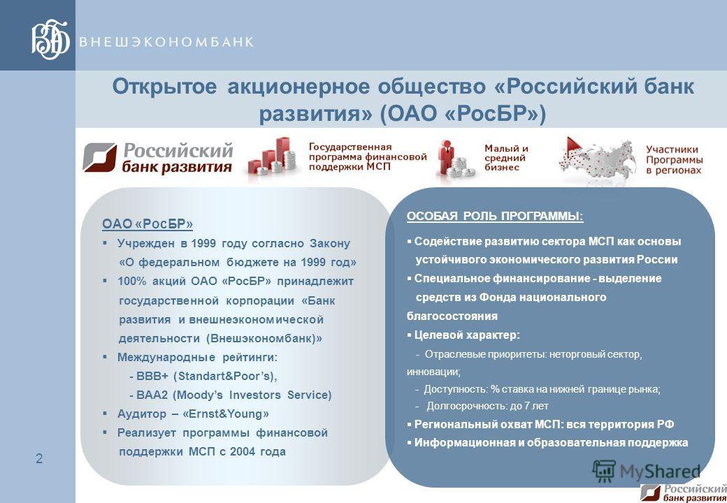 2 2 Открытое акционерное общество «Российский банк развития» (ОАО «РосБР») ОАО «РосБР» Учрежден в 1999 году согласно Закону «О федеральном бюджете на 1999 год» 100% акций ОАО «РосБР» принадлежит государственной корпорации «Банк развития и внешнеэконо