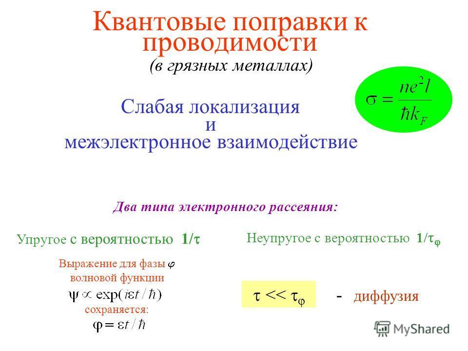 Квантовые поправки к проводимости Слабая локализация и межэлектронное взаимодействие Два типа электронного рассеяния: Упругое с вероятностью 1/ Выражение для фазы волновой функции сохраняется: Неупругое с вероятностью 1/ (в грязных металлах) < - дифф