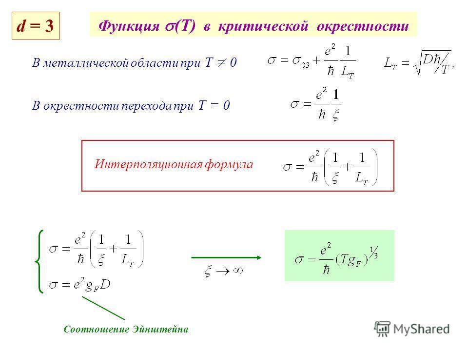 Функция (T) в критической окрестности В металлической области при Т = 0 В окрестности перехода при Т = 0 Интерполяционная формула Соотношение Эйнштейна d = 3