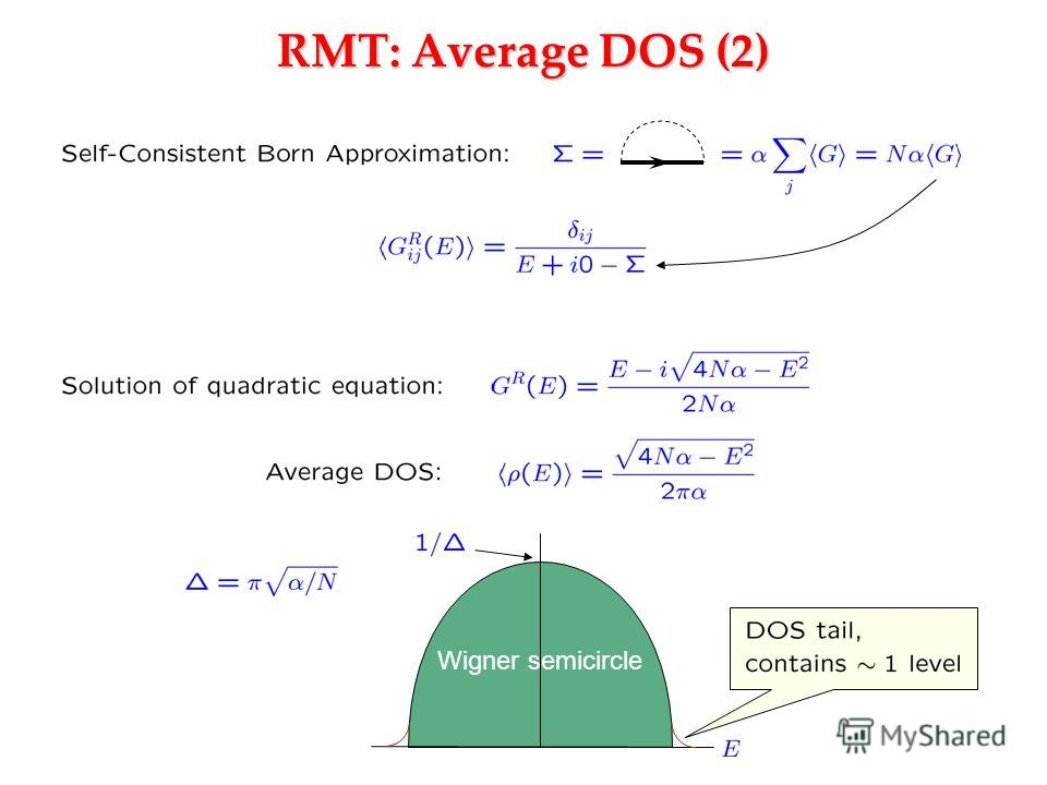 RMT: Average DOS (2) Wigner semicircle