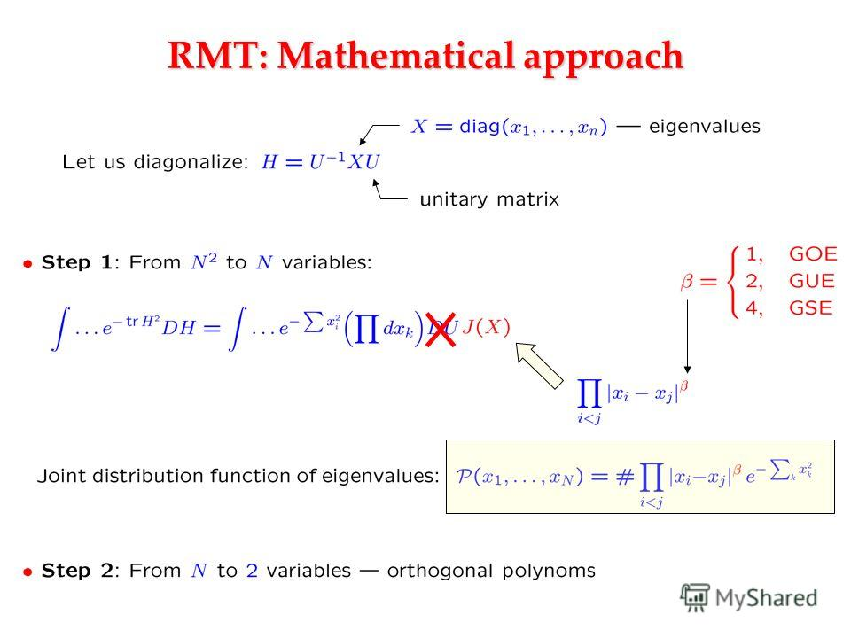 RMT: Mathematical approach
