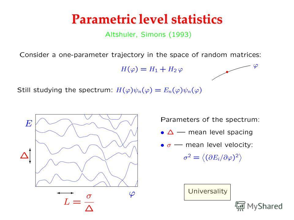 Parametric level statistics