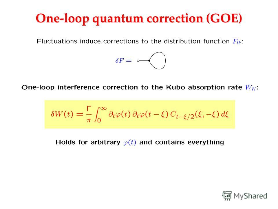 One-loop quantum correction (GOE)
