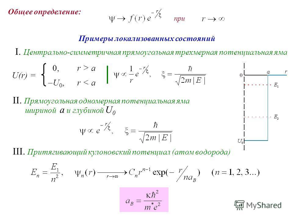 Примеры локализованных состояний I. Центрально-симметричная прямоугольная трехмерная потенциальная яма II. Прямоугольная одномерная потенциальная яма шириной a и глубиной U 0 III. Притягивающий кулоновский потенциал (атом водорода) U(r) = 0,r > a U 0