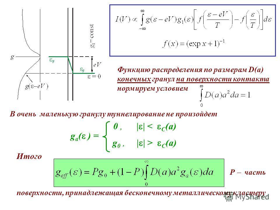 Функцию распределения по размерам D(a) конечных гранул на поверхности контакта нормируем условием В очень маленькую гранулу туннелирование не произойдет g a ( ) = 0, | | < C (a) g 0, | | > C (a) Итого P часть поверхности, принадлежащая бесконечному м