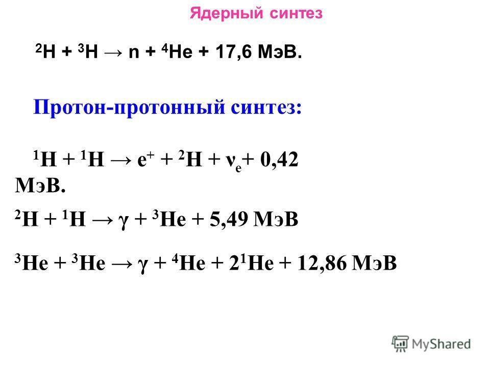 Ядерный синтез 2 Н + 3 Н n + 4 Не + 17,6 МэВ. Протон-протонный синтез: 1 Н + 1 Н е + + 2 Н + ν е + 0,42 МэВ. 2 Н + 1 Н γ + 3 Не + 5,49 МэВ 3 Не + 3 Не γ + 4 Не + 2 1 Не + 12,86 МэВ