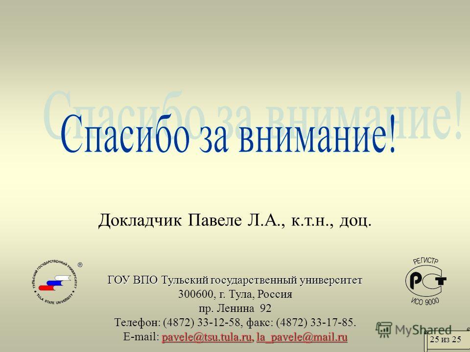 Докладчик Павеле Л.А., к.т.н., доц. ГОУ ВПО Тульский государственный университет 300600, г. Тула, Россия пр. Ленина 92 Телефон: (4872) 33-12-58, факс: (4872) 33-17-85. pavele@tsu.tula.rupavele@tsu.tula.ru, la_pavele@mail.ru E-mail: pavele@tsu.tula.ru
