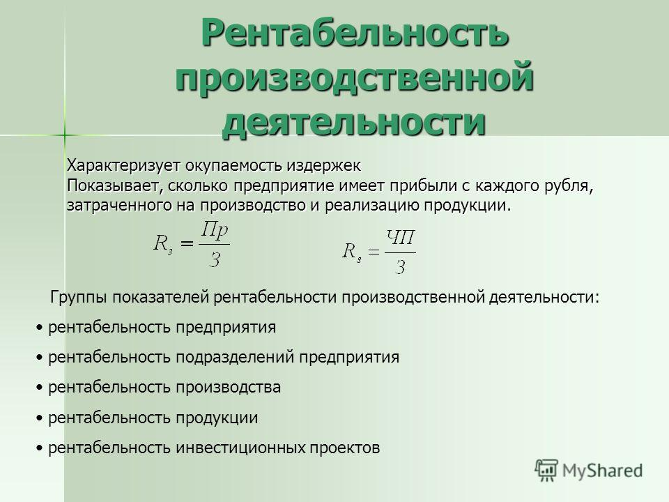Рентабельность производственной деятельности Характеризует окупаемость издержек Показывает, сколько предприятие имеет прибыли с каждого рубля, затраченного на производство и реализацию продукции. Группы показателей рентабельности производственной дея