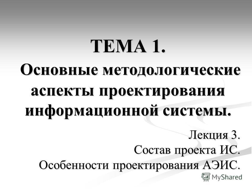 ТЕМА 1. Основные методологические аспекты проектирования информационной системы. Лекция 3. Состав проекта ИС. Особенности проектирования АЭИС.