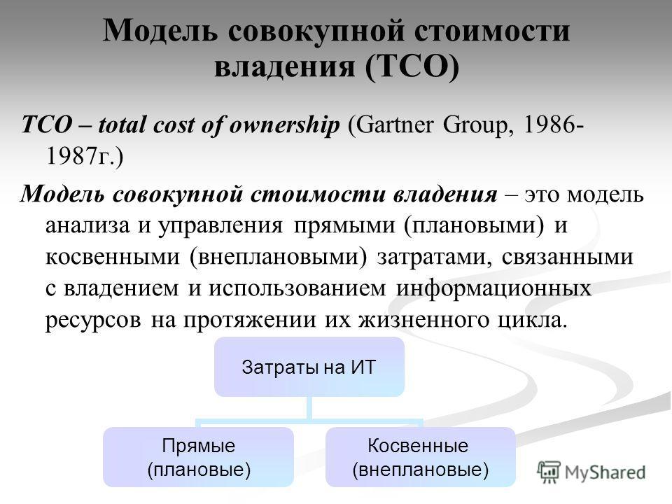 Модель совокупной стоимости владения (ТСО) TCO – total cost of ownership (Gartner Group, 1986- 1987г.) Модель совокупной стоимости владения – это модель анализа и управления прямыми (плановыми) и косвенными (внеплановыми) затратами, связанными с влад