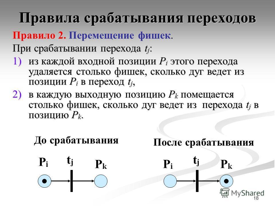 18 Правила срабатывания переходов Правило 2. Перемещение фишек. При срабатывании перехода t j : 1)из каждой входной позиции P i этого перехода удаляется столько фишек, сколько дуг ведет из позиции P i в переход t j, 2)в каждую выходную позицию P k по