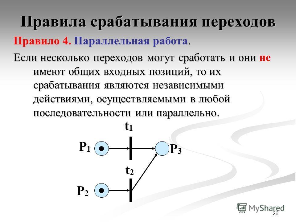 26 Правила срабатывания переходов Правило 4. Параллельная работа. Если несколько переходов могут сработать и они имеют общих входных позиций, то их срабатывания являются независимыми действиями, осуществляемыми в любой последовательности или параллел