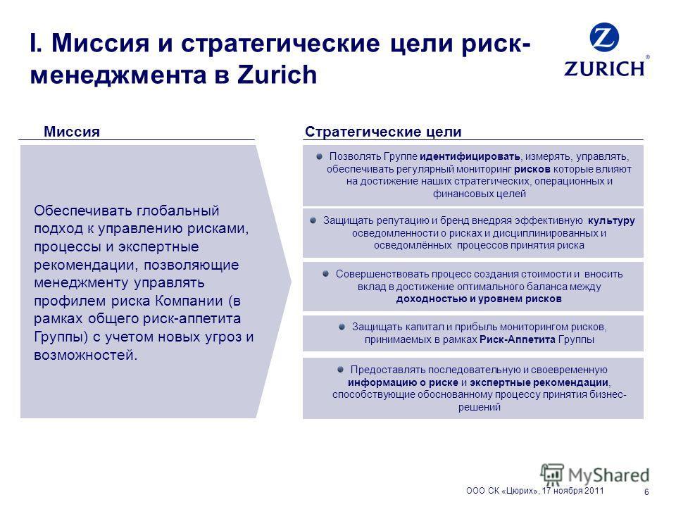 6 I. Миссия и стратегические цели риск- менеджмента в Zurich Миссия Обеспечивать глобальный подход к управлению рисками, процессы и экспертные рекомендации, позволяющие менеджменту управлять профилем риска Компании (в рамках общего риск-аппетита Груп