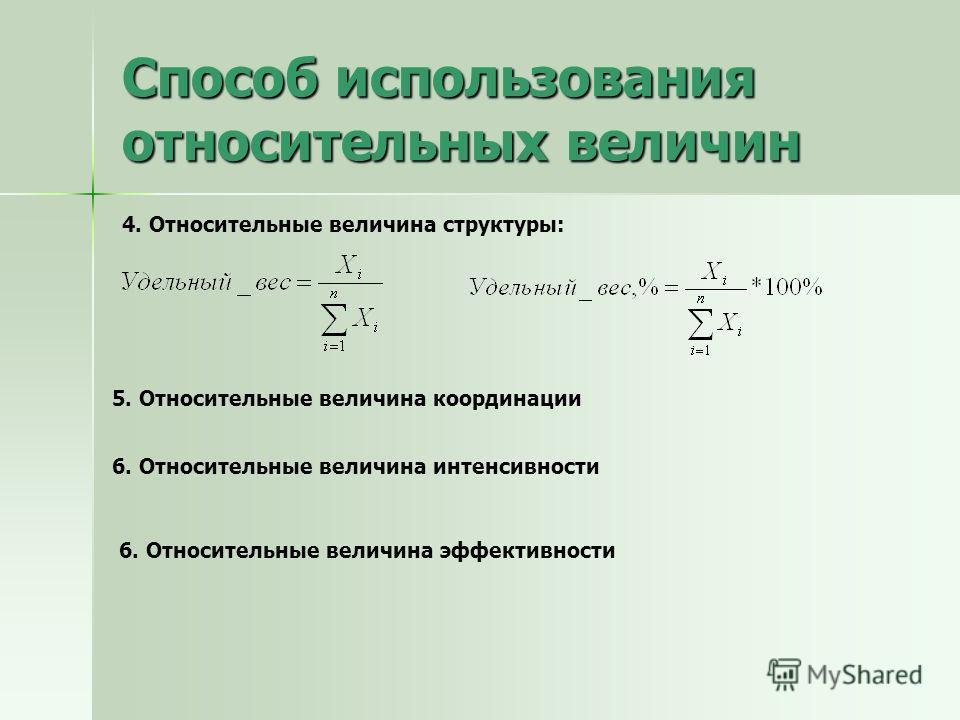 Способ использования относительных величин 4. Относительные величина структуры: 5. Относительные величина координации 6. Относительные величина интенсивности 6. Относительные величина эффективности