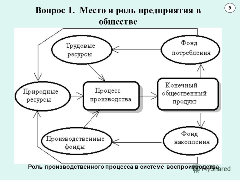 Вопрос 1. Место и роль предприятия в обществе 5 Роль производственного процесса в системе воспроизводства