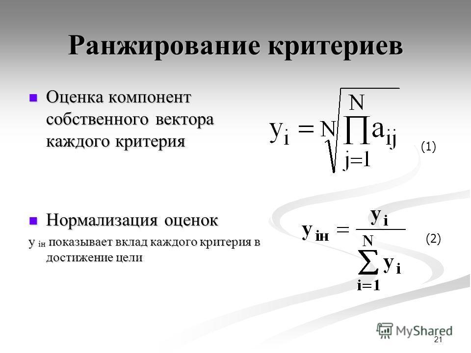 21 Ранжирование критериев Оценка компонент собственного вектора каждого критерия Оценка компонент собственного вектора каждого критерия Нормализация оценок Нормализация оценок y iн показывает вклад каждого критерия в достижение цели (1) (2)