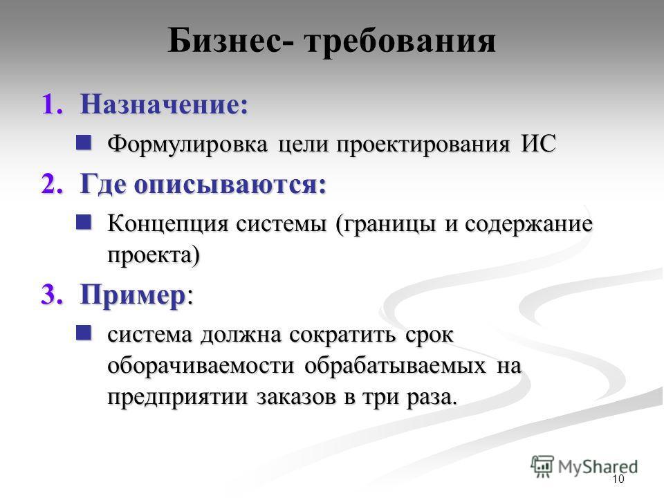 10 Бизнес- требования 1.Назначение: Формулировка цели проектирования ИС Формулировка цели проектирования ИС 2.Где описываются: Концепция системы (границы и содержание проекта) Концепция системы (границы и содержание проекта) 3.Пример: система должна