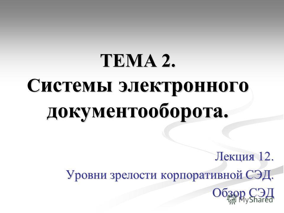 ТЕМА 2. С истемы электронного документооборота. Лекция 12. Уровни зрелости корпоративной СЭД. Обзор СЭД
