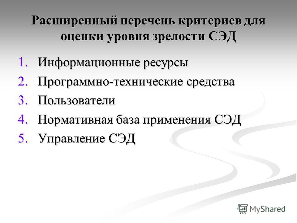 Расширенный перечень критериев для оценки уровня зрелости СЭД 1.Информационные ресурсы 2.Программно-технические средства 3.Пользователи 4.Нормативная база применения СЭД 5.Управление СЭД