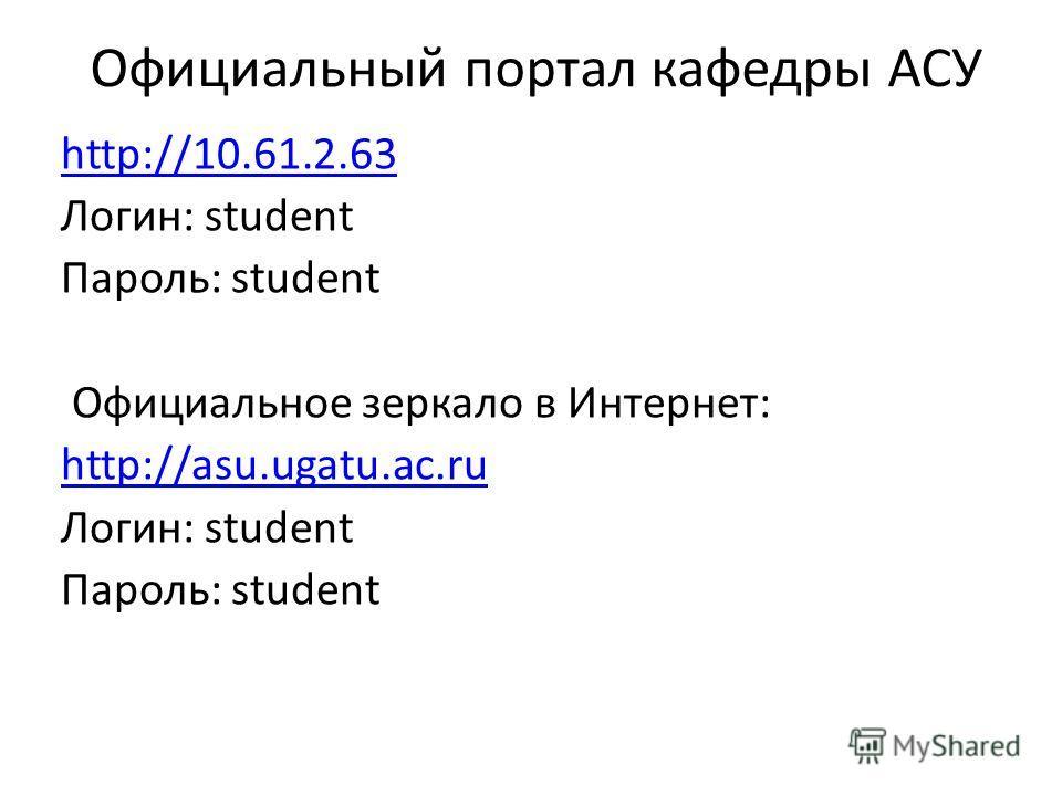 Официальный портал кафедры АСУ http://10.61.2.63 Логин: student Пароль: student Официальное зеркало в Интернет: http://asu.ugatu.ac.ru Логин: student Пароль: student