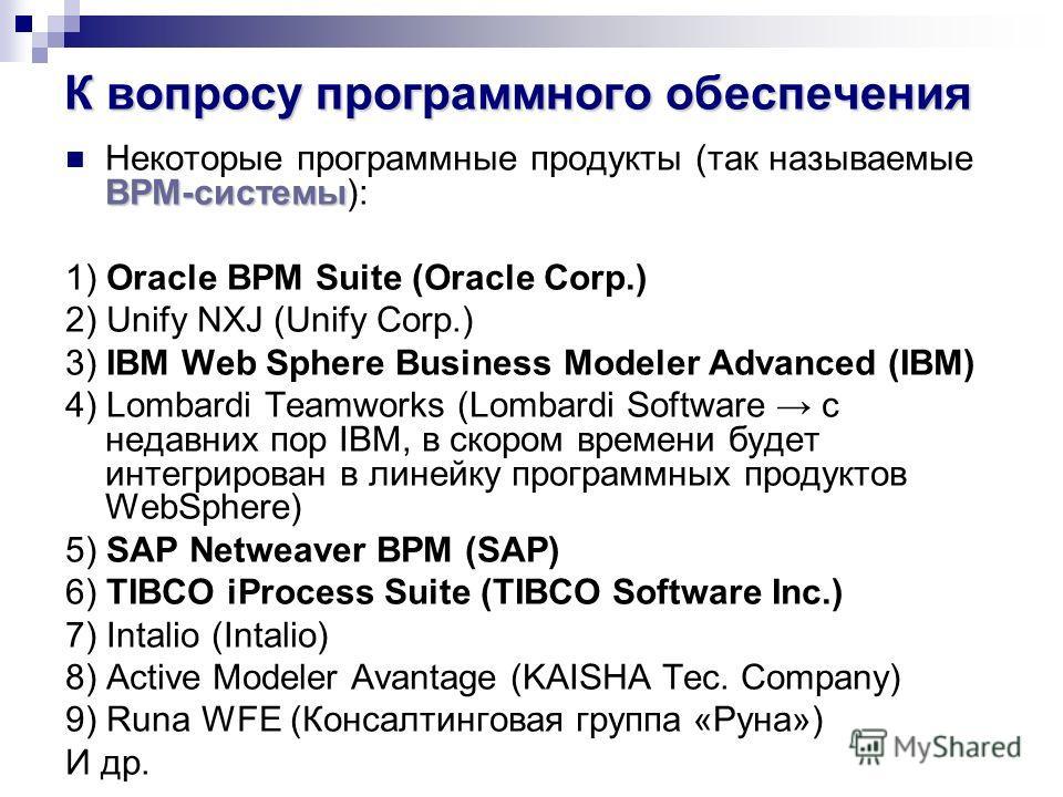 К вопросу программного обеспечения BPM-системы Некоторые программные продукты (так называемые BPM-системы): 1) Oracle BPM Suite (Oracle Corp.) 2) Unify NXJ (Unify Corp.) 3) IBM Web Sphere Business Modeler Advanced (IBM) 4) Lombardi Teamworks (Lombard