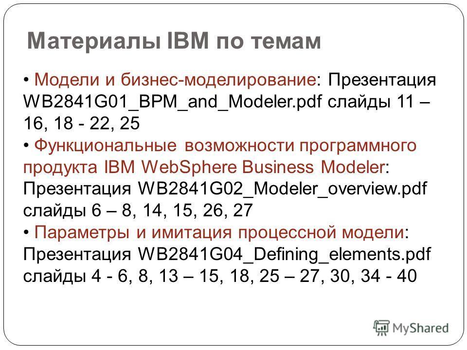 Материалы IBM по темам Модели и бизнес-моделирование: Презентация WB2841G01_BPM_and_Modeler.pdf слайды 11 – 16, 18 - 22, 25 Функциональные возможности программного продукта IBM WebSphere Business Modeler: Презентация WB2841G02_Modeler_overview.pdf сл