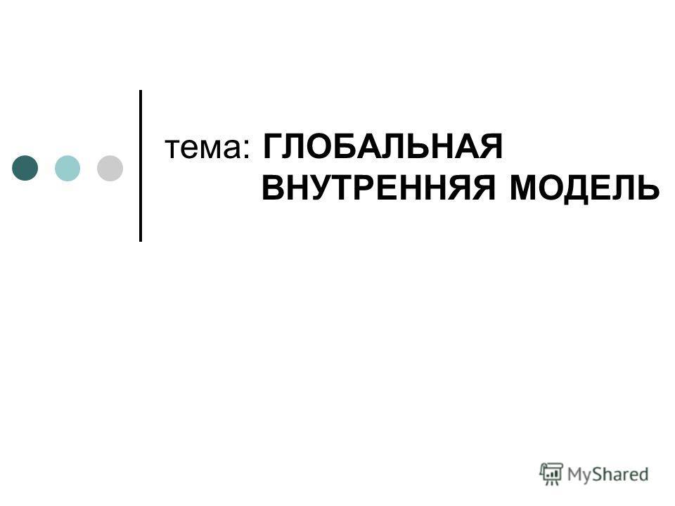 тема: ГЛОБАЛЬНАЯ ВНУТРЕННЯЯ МОДЕЛЬ