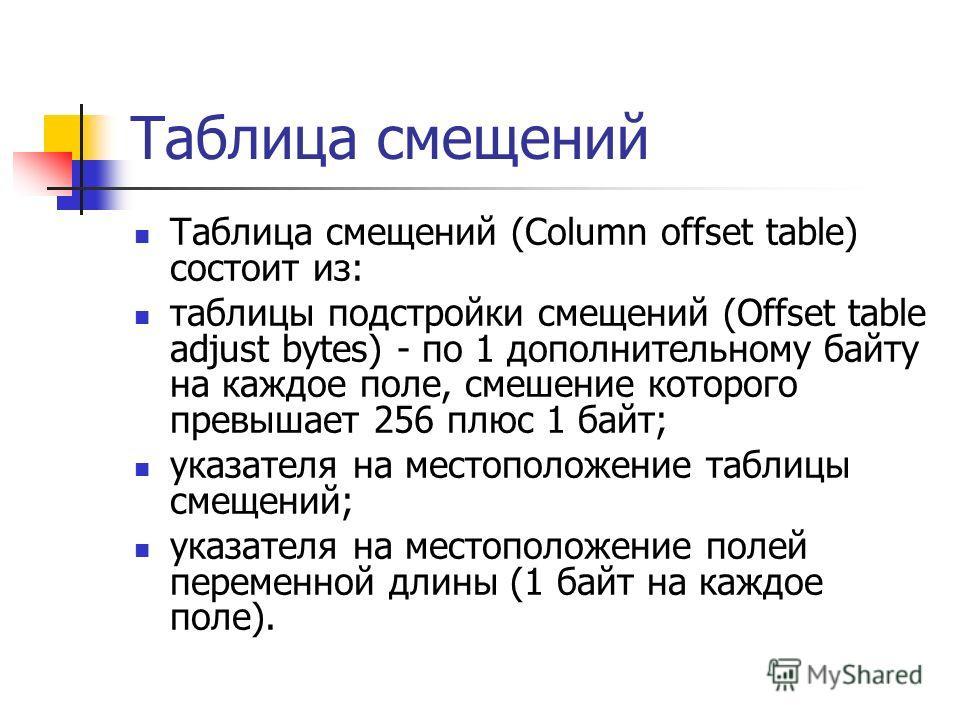 Таблица смещений Таблица смещений (Column offset table) состоит из: таблицы подстройки смещений (Offset table adjust bytes) - по 1 дополнительному байту на каждое поле, смешение которого превышает 256 плюс 1 байт; указателя на местоположение таблицы