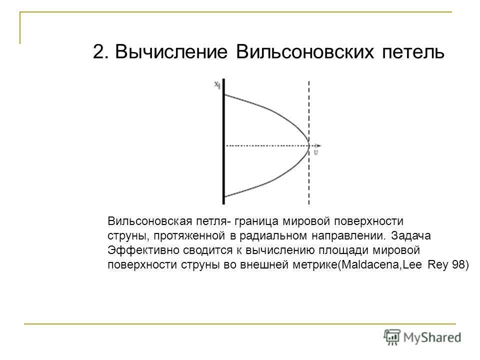 2. Вычисление Вильсоновских петель Вильсоновская петля- граница мировой поверхности струны, протяженной в радиальном направлении. Задача Эффективно сводится к вычислению площади мировой поверхности струны во внешней метрике(Maldacena,Lee Rey 98)